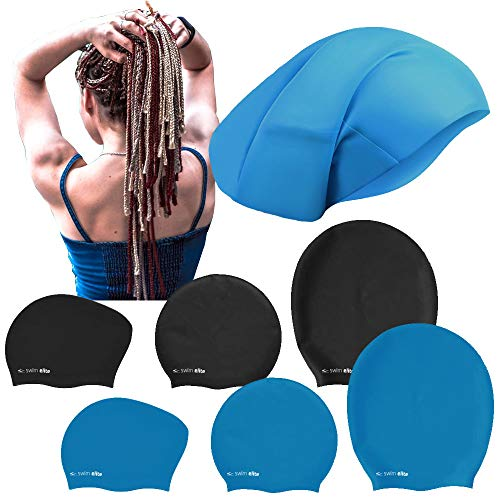 Swim Elite Silikon Badekappe für Lange Haare - Extra große Badekappe Damen Herren - Schwimmkappe - Badehaube - Dreadlocks Haarverlängerungen Afro Haarwebart (Black, XL (22x29cm))