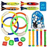SPECOOL Diving Toys,5pcs Dive Sticks┃4pcs Dive Rings┃4pcs Toypedo Bandits┃6pcs Diving Gemstones Underwater Swimming Pool Toys Summer Diving Game Training Education Gift for Kids Boys Girls