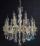 KRISTALL KRONLEUCHTER 12 Leuchten Ø60cm mit SPECTRA® Crystal von SWAROVSKI VOLL Gold