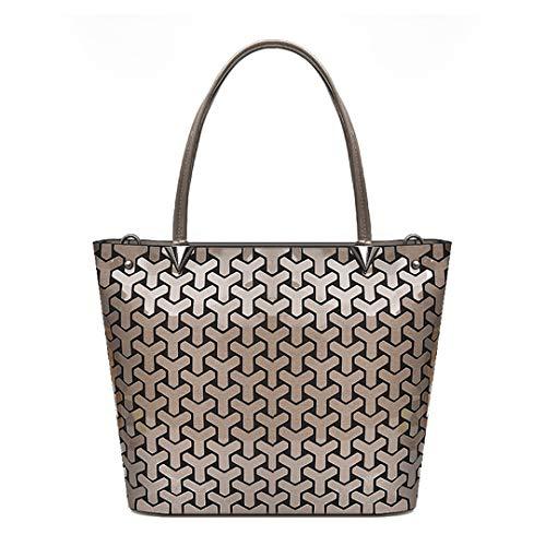 Faltbare Handtaschen Große Kapazität Geometrische Schultertasche Casual Tote Bronze -