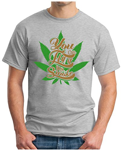 OM3 - SMOKE-N-FLY - T-Shirt YOU CAN FLY WEED MUSIC FESTIVAL KUSH GEEK EMO NYC, S - 5XL Grau Meliert
