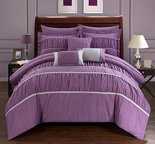 Chic Home 10Stück Cheryl Bundfaltenhose & Rüschen Bett in einem Beutel Tröster Set mit Tabelle Set, Queen, Pflaume