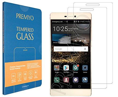 PREMYO [2 Piezas] cristal templado Huawei P8. Protector cristal templado Huawei P8 con una dureza de 9H, bordes redondeados a 2,5D. Protector pantalla Huawei P8