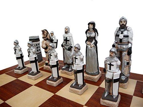 Luxus CRUSADE Holz Schachspiel. Klappbare eingelegten Schach Brett 60 x 60cm und Marmor handbemalte Stücke!