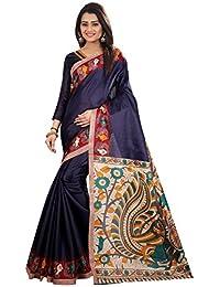 JENCY FASHION Kalamkari 4 Silk Saree With Blouse (NAVY)
