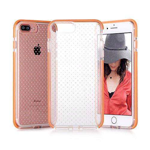iPhone 8 Plus Hülle , iPhone 7 Plus Hülle, Fyy® [Patentiert Stoßfest] [Militärisches Materia] Passgenaue stoßfeste Silikon-Gummi Hülle für Apple iPhone 8/7 Plus , Grau AA-Orange