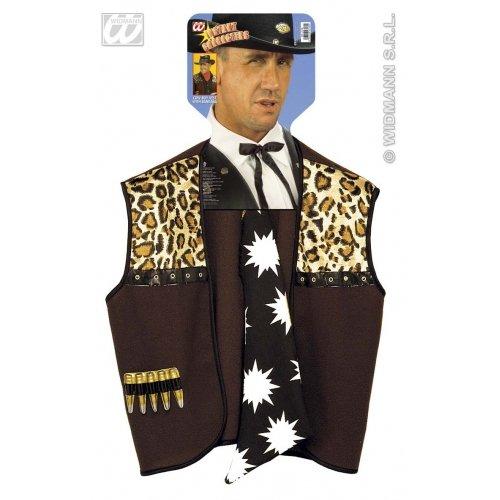 Widmann wdm4318C, Kostüm für Erwachsene, Cowboy-Weste mit Bandana, Braun