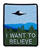 I Want to Believe Patch (9 cm) brodée fer ou coudre badge rétro souvenir DIY Costume X-Files Poster Alien Extra terrestre Soucoupe volante Space Ship