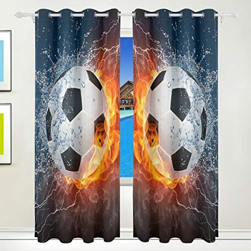 Behandlung Fall (BONIPE Fire Wasser Fußball Gardinen Verdunklungsvorhänge Tülle Fenster Behandlung Fall Wohnzimmer Schlafzimmer Home Decor 139,7x 213,4cm, 2Platten Set)