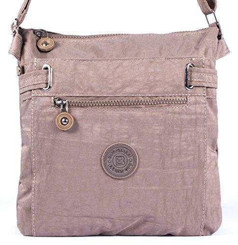 sportliche Handtasche/Schultertasche/Umhängetasche aus Nylon Stone/grau -