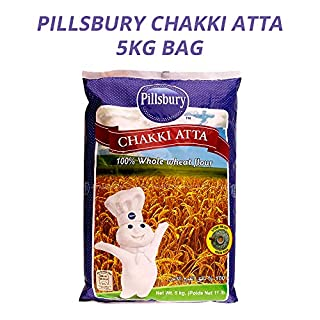 Pillsbury Chakki Atta | 100% Whole Wheat | Full of Fibre | Make Rotis & Chappatis | Traditional Indian Flour | Nutritious | Vegetarian | 5KG Bag