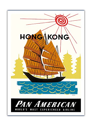 Hong Kong, China - chinesische Dschunke (Boot) und Pagode Tempel - Pan American World Airways, Luftfahrt - Vintage Retro Fluggesellschaft Reise Plakat Poster von A. Amspoker c.1960 - Premium 290gsm Giclée Kunstdruck - 30.5cm x 41cm (Chinesischen Boote Dschunke)