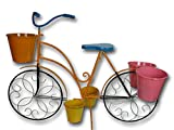 Großes Garten Pflanz Fahrrad Figur bunt aus Metall