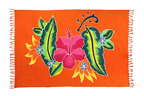 Sarong Pareo Wickelrock Strandtuch Tuch Schal Wickelkleid Strandkleid Sauna Kleid Orange Blume Hibiskus + Schnalle (Kleid Sarong Hibiskus)