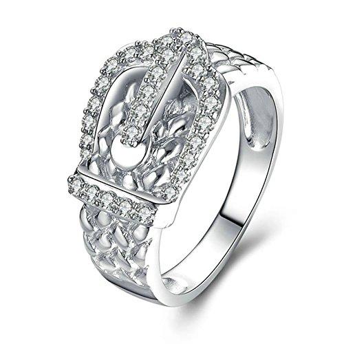 Beydodo anello argento donna eternity anelli fidanzamento per donna anello cintura con rotonda brillante diamante taglia 16