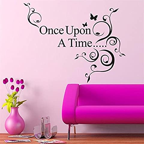Zooarts Once Upon A Time Words Removable Vinyl Wall Quote Decal Sticker