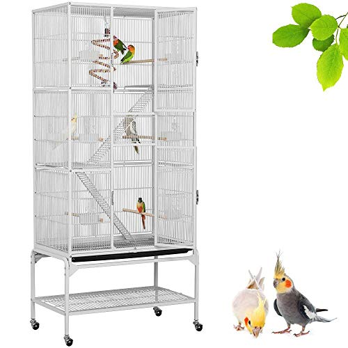 Yaheetech 175cm Large Iron Parrot Cage Bird Cage Play House Budgies Finches Canary Conure Cockateil Lovebirds African Grey Parrot Mid-sized Parrots with Perch Stand and Wheels