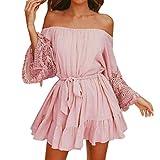 HCFKJ 2018 Mode Damen Frauen O-Ansatz beiläufige Taschen-Sleeveless über Knie-Kleid-lose Partei-Kleid (M, Rosa)