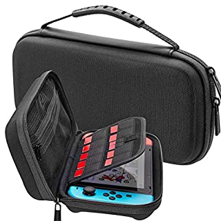 Asnlove Switch Carry Case, Portable Protective Travel Storage Carrying Case Shell Pouch with 10 Game Cartridges for Nintendo Switch Console & Accessories