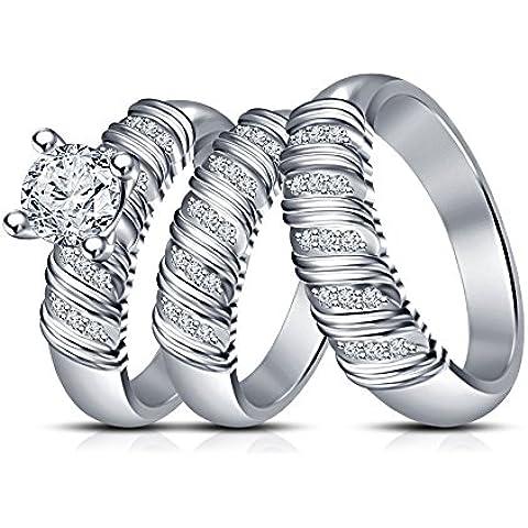 Vorra Fashion + Anello di fidanzamento Wedding Band Trio Set in platino di argento 925 - Womens Anello Trio