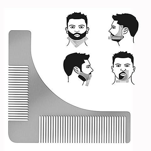 Cisixin Bartkamm & Bart Schablone Edelstahl Bart Styling und Gestaltung Vorlage Kamm Werkzeug Rasur der Bartlinie für die perfekt (Ausschnitte Vorlage)