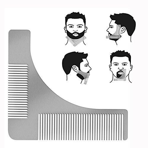 Cisixin Bartkamm & Bart Schablone Edelstahl Bart Styling und Gestaltung Vorlage Kamm Werkzeug Rasur der Bartlinie für die perfekt Bartform