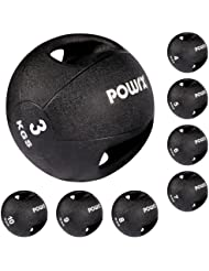POWRX - Balón medicinal con asas (10 kg) - Ideal para la práctica del cross training, el calentamiento de los deportistas, el refuerzo muscular o la rehabilitación