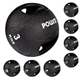 Balón medicinal con asas 3 kg, 4 kg, 5 kg, 6 kg, 7 kg, 8 Kg, 9 kg, 10 kg - (5 kg / Negro)