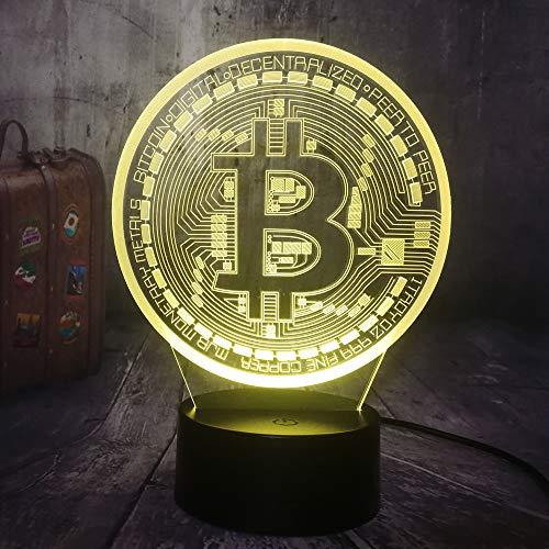 ziweipp Neuheit Bitcoin Nachtlicht 3D LED USB RGB Tisch Schreibtischlampe Wohnkultur Display Birne Junge Spielzeug Geburtstagsgeschenk -