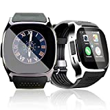 Bluetooth Smart Watch, Smart Phone Watch with SIM Cart Slot,Smart Watch 1.54 inches Screen Touch with Camera, Sport Wrist band with Functions Pedometer, Sleep Monitor, Remote Camera etc, Smart Bracelet for Sony, Samsung, HTC, Huawei and other Most of Android Smartphone (Black)