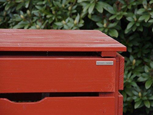 3er Mülltonnenbox / Mülltonnenverkleidung 120 L Holz, Deckend Geölt Nordisch Rot - 3