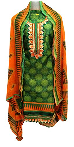 C&S Unstitched Floral Embroidered Green and Orange Salwar Suit Party Wear Dress...