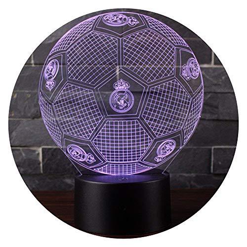 3D Lámpara de Escritorio Mesa 7 cambiar el color botón táctil de escritorio del USB LED lámpara de tabla ligera Decoración para el Hogar Decoración para Niños Mejor Regalo (Fútbol del Real Madrid)