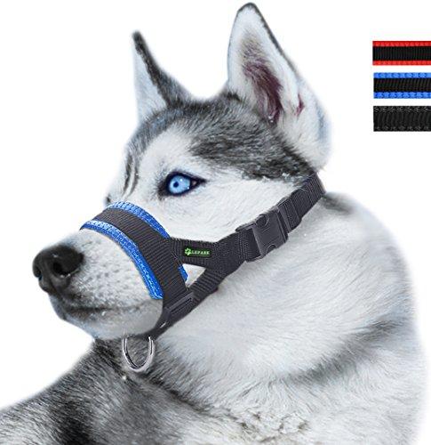 RockPet Maulkorb aus Nylon um Hunde vom Beisen, Bellen und Kauen abzuhalten, anpassbare Schlinge (S,Blau)