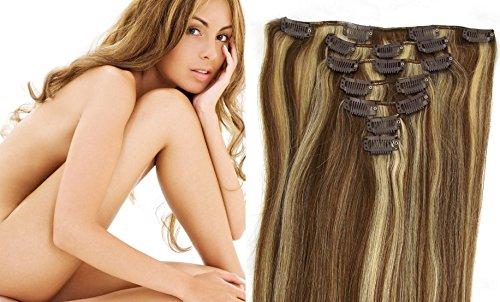 Extensions a Clips Cheveux Humains # 8/613 mixte Light Brown & Platinum Blonde Remy Hair 7pcs 46cm 70g