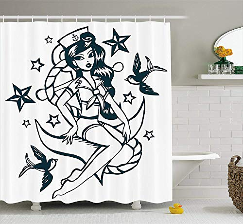 Shengpeng Anchor Shower Curtain, Pin-up Girl Nautical Sailor Suit Surrounded by Swallow Birds Stars Hand Drawn, Fabric Bathroom Decor Set with Hooks, 75 inches Long, Dark Blue White
