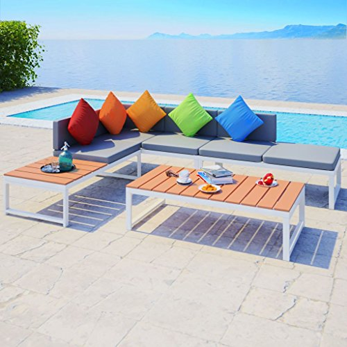 Tidyard- set divano angolare da giardino, mobili da esterno 19 pz in alluminio wpc