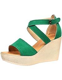 Anguang Damen Sommer Schuhe Keil Sandalen Peep Toe Party Plateausandalen c15ef8dda0