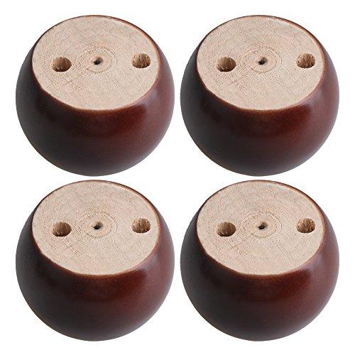 BQLZR 8 x 8 x 5 cm, patas redondas de madera de eucalipto de color rojo y marrón, 100 kg, elevador de peso para sofás, gabinetes, mesas, camas, paquete de 4