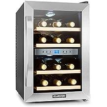 Klarstein Reserva • cave à vin • réfrigérateur à boisson • 34 L • 12 bouteilles • 4 étagères • silencieux • 2 zones • Température : 07 °- 18 ° C • Affichage LED • lumière intérieure LED • noir-argent