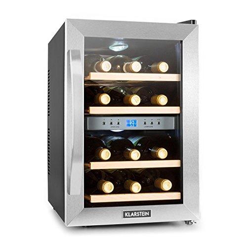 Klarstein Reserva • Frigorifero per vini e bevande • 34 L • 12 bottiglie • 4 ripiani • silenzioso • range di temperature: 07° - 18° C • display LCD • illuminazione interna a LED • nero-argento