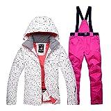 Ksruee Damen Skianzug Winterjacke Kälteschutz Winddicht Wasserdicht Warme Outdoor-Skijacke und