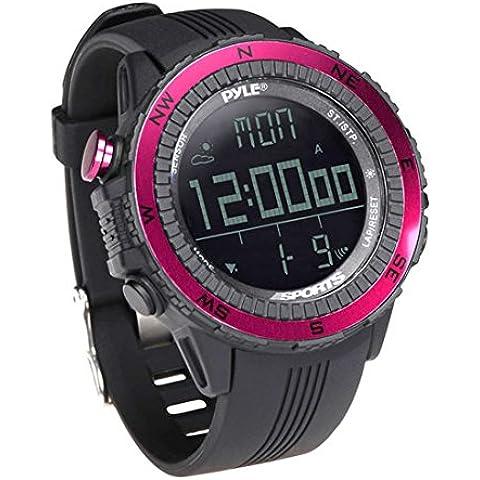 Pyle PSWWM82PN - Reloj deportivo digital multifuncional, color rosa