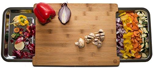 Naturlik tagliere di legno (bambù) di alta qualità | con 2 cassetti estraibili di acciaio inox per più spazio per tagliare | aiuto pratico per la cucina: resti a sinistra, taglio a destra