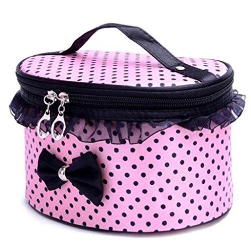 Hosaire Damen Lovely Lace Bow Krawatte Staubbeutel Fashion Lady Frauen Travel Make Up Kosmetik Tasche Bag Clutch Handtasche Casual Geldbörse Lagerung Organizer, Polyester (Kosmetiktasche Bow Handtasche)