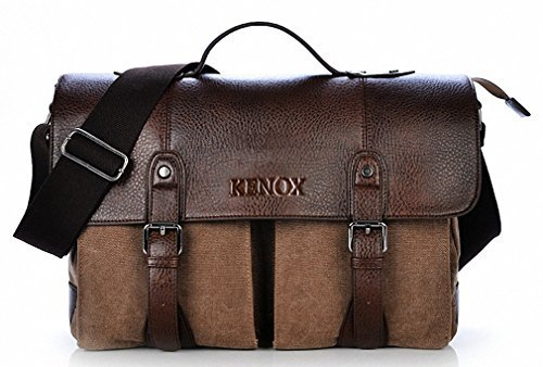 Kenox Retro Canvas Briefcase Messenger Shoulder Laptop Bag (Brown)