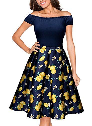 MIUSOL-Womens-1940s-Tea-Casual-Evening-Cap-Sleeve-Dress-Off-Shoulder-Lemon-Pattern-Fancy-Dress