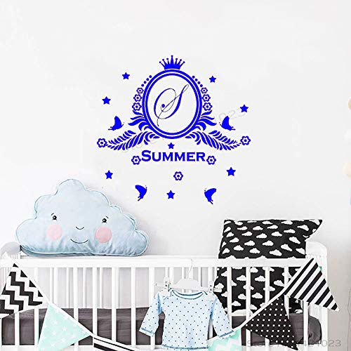 xingbuxin Wandtattoo Schöne Benutzerdefinierte Monogramm Name Wandaufkleber Für Kinderzimmer Kinderzimmer Schlafzimmer Tapete Personalisierte Decor 3 43x42 cm -