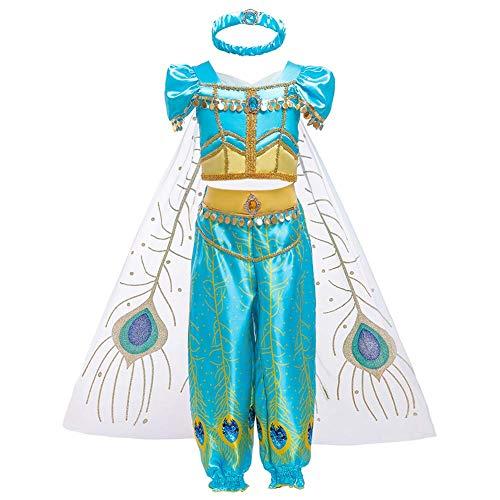 Iwemek ragazze vestito da principessa jasmine costume carnevale bambina aladdin costumi arabo danza top pantaloni e mantello abiti da festa di compleanno halloween cosplay 02 blu 8-9 anni