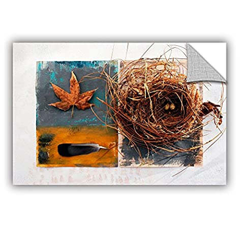 ArtWall Elana Ray's Nest with Eggs Feather & Sycamore Leaf Appealz Removable Graphic Wall Art, 16 x 24